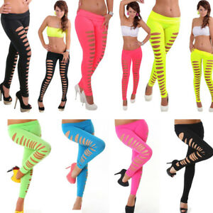 ee391704238642 Women Sexy Leggings Candy Color Skinny Ripped Hole Cut Out Leggings ...