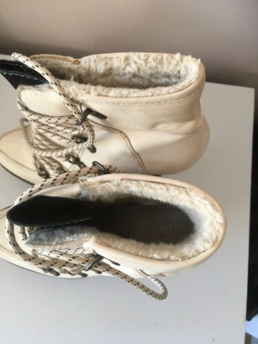 BNIB River Island Greet Herit cream leather lace up Boots RARE Size 5