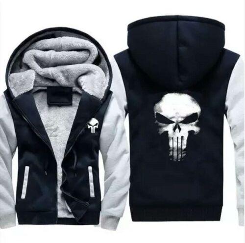 The Punisher Skull Print Hoodie Jacket Winter Thicken Warm Hooded Sweatshirt