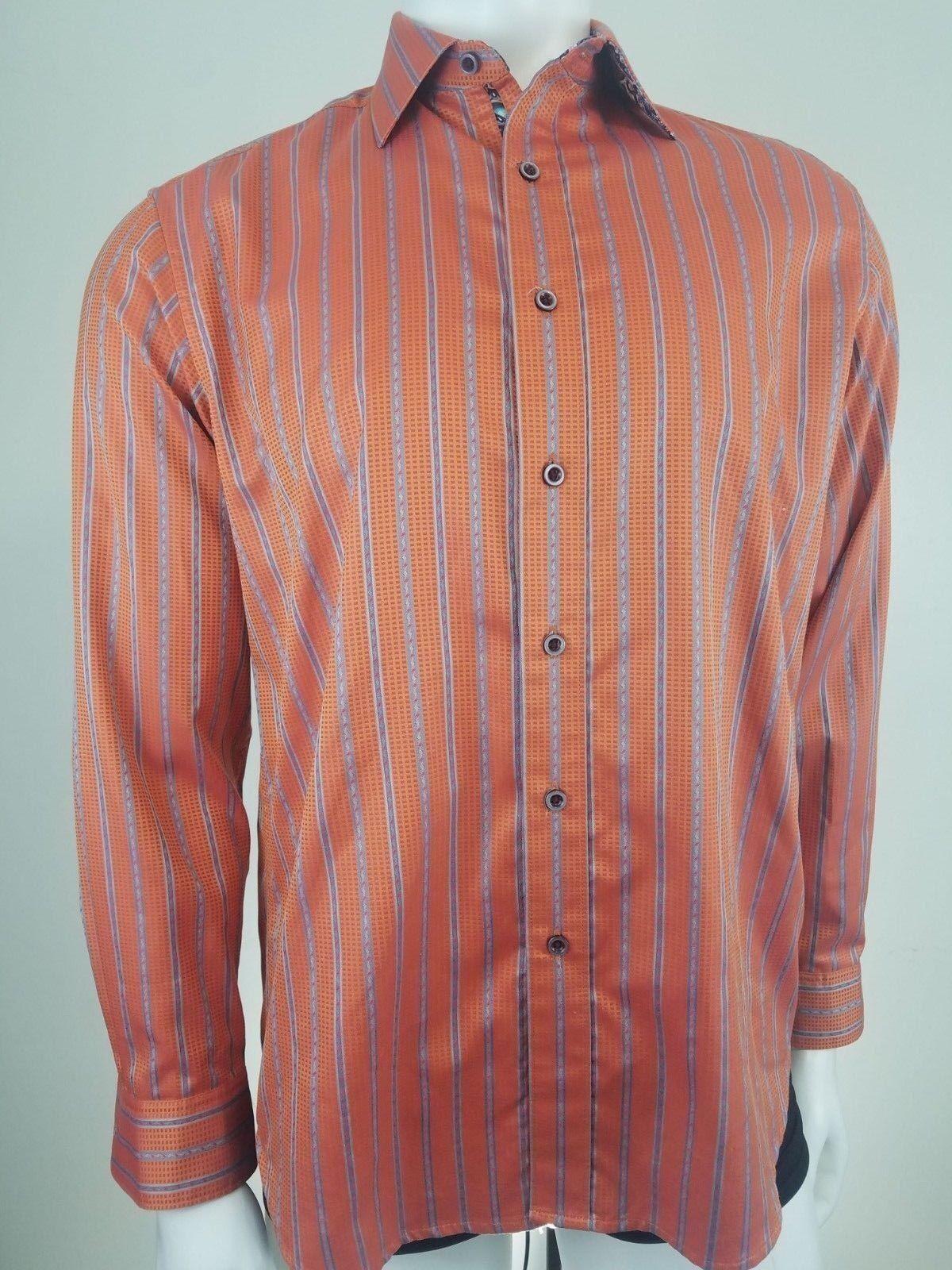 Robert Graham Mens Shirt Medium orange Striped Embroidered Flip Cuff Button Down
