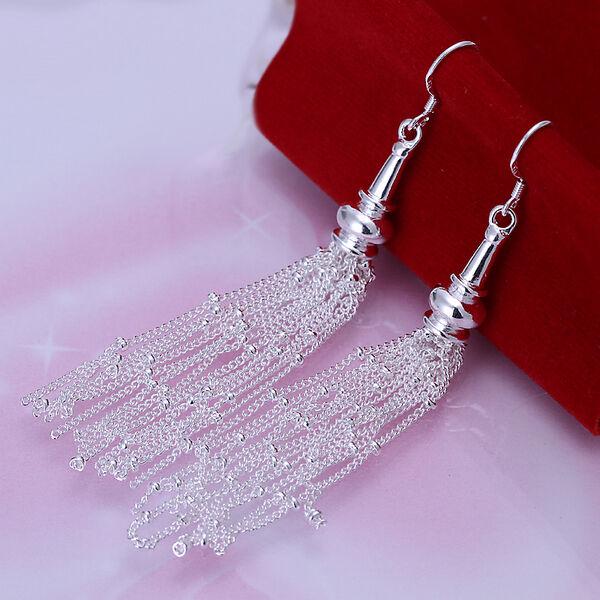 Gracious Fashion 925 Sterling Silver Long Tassels Dangle Earrings Jewelry A471