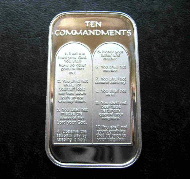 1 oz TEN 10 COMMANDMENTS .999 Fine  SILVER  BULLION BAR