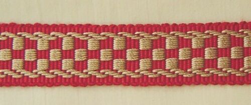 """1.25/"""" Braid 3 YD Cranberry Red and Gold Has Matched Rosette Chair Tie"""