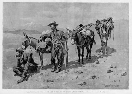 FREDERIC REMINGTON PROSPECTORS IN THE SIERRA MADRE MULES PROMISED LAND IN SIGHT