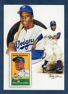 JACKIE ROBINSON, Brooklyn Dodgers ~ GIANT-size postcard USPS with Paluso Artwork