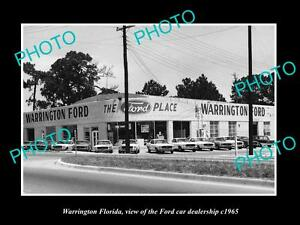 OLD-LARGE-HISTORIC-PHOTO-OF-WARRINGTON-FLORIDA-THE-FORD-CAR-DEALERSHIP-c1965