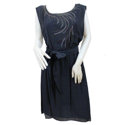 Ladies Womens Black Works Shift Dress Embellished Beads Scoop Neck 10 12 14 16