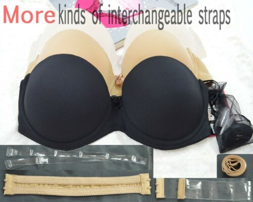 Strapless Transparent Invisible Multiway Clear Back Straps Underwear Push up Bra