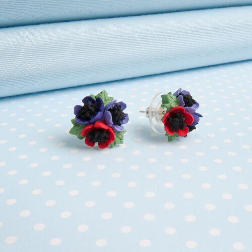 Anémona Posy Pendientes Joyas Flor pintada a mano hecha en Gales Reino Unido