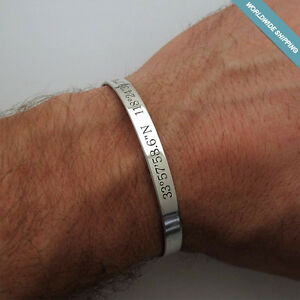 Image Is Loading Mens Custom Gps Coordinates Bracelet Id Men Personalized