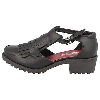 OFERTA Spot On f9728 Mujer Negro Sintético 5.1cm Bloque de Tacón Zapatos