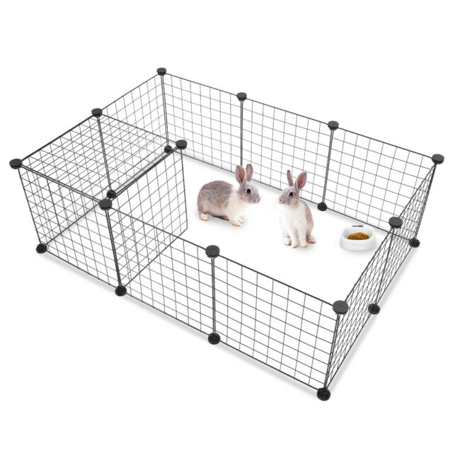 Pet Playpen, Small Animal Cage Indoor Portable Metal Wire Yard Fence Metal Panel