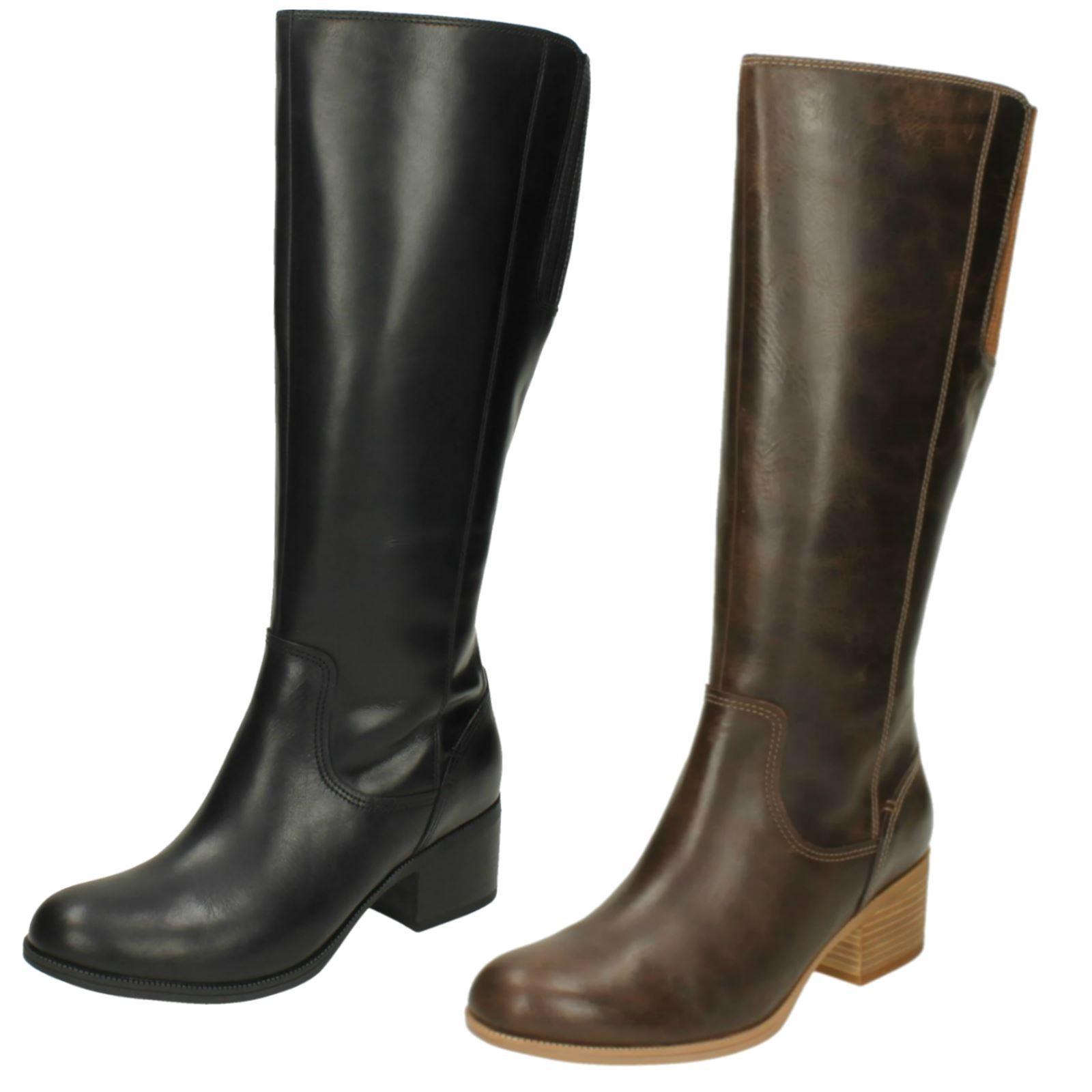 Ladies Clarks Knee Length Heeled Boots 'Maypearl purple'