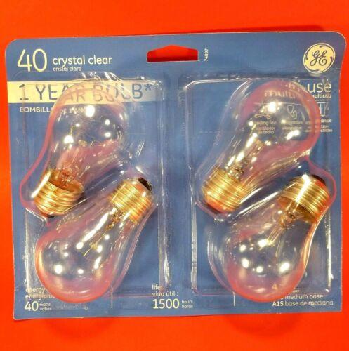 4-Pack GE 40-Watt Clear A15 Medium Base Ceiling Fan /& Appliance Light Bulb NEW