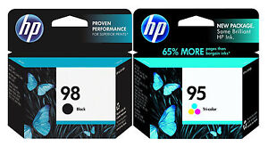 GENUINE NEW HP 98 95  (C9364WN/C8766WN) Black Color Ink Cartridge 2-Pack