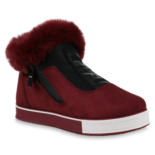 Damen Plateau Sneaker Warm Gefütterte Winter Turnschuhe Prints 825469 Schuhe