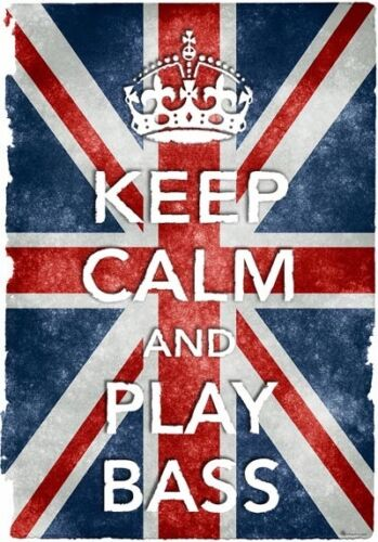 KC35 Vintage Style Union Jack Keep Calm Play Bass Funny Poster Print A2//A3//A4
