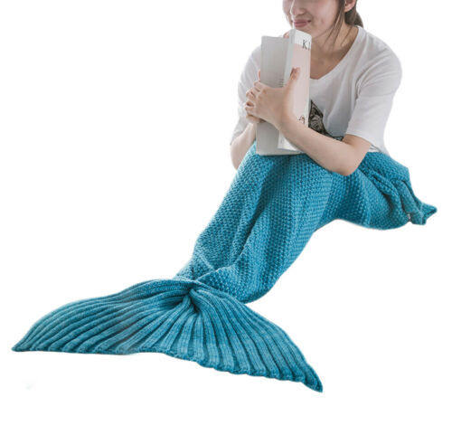 Chic Warm Handmade Knitted mermaid tail Blankets for Kids Baby Girls Adult Women