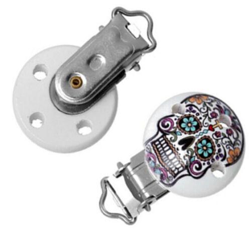 5pcs Baby Pacifier Clips skull Pattern White Wood Metal Holders 4.3cm x2.9cm