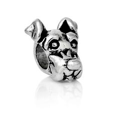 Antique Silver Dog Head  Spacer Charm Bead  For European Charm Bracelets