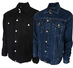 Mens-Trucker-Denim-Jean-Jackets-Stonewash-And-Black-From-S-to-5XL