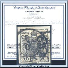 Italia ASI 1850 Lombardo Veneto Stemma cent. 10 nero n. 2 Usato Certificato