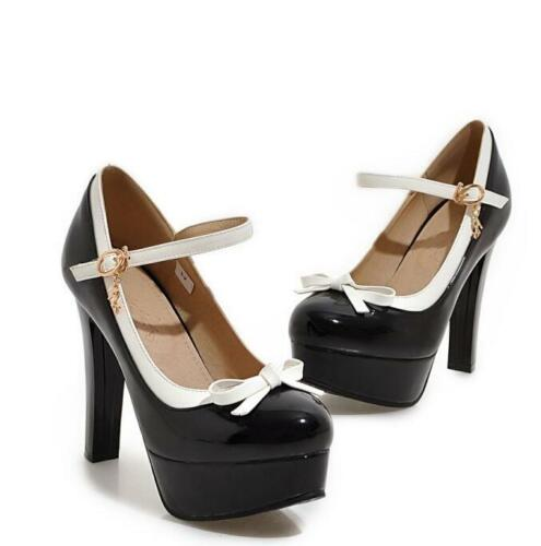 Details about  /Women Sweet Bowknot PU Leather Platform Pumps Candy Color Lolita Mary Jane Shoes