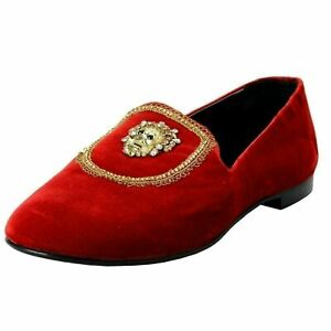 Giuseppe-Zanotti-Homme-Men-039-s-Red-Velour-Leather-Slip-On-Loafers-Shoes-US-9-IT-42