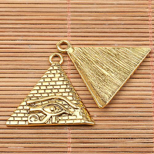 4pcs dark gold tone pyramidal shape eye pattern charms EF2568