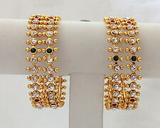 Indian Traditional Ethnic Stone Bangles Gold Plated Set of 4 Pieces Size 2.8.