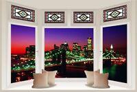 Huge 3D Bay Window New York City View Wall Stickers Mural Wallpaper 327