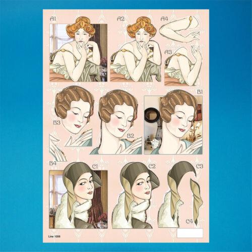 051-1006 Art Deco A4 Die Cut 3D Decoupage Sheet
