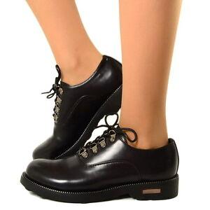 Scarpe-Francesine-Maschili-da-Donna-Stringate-Oxford-College-Total-Black-6A343