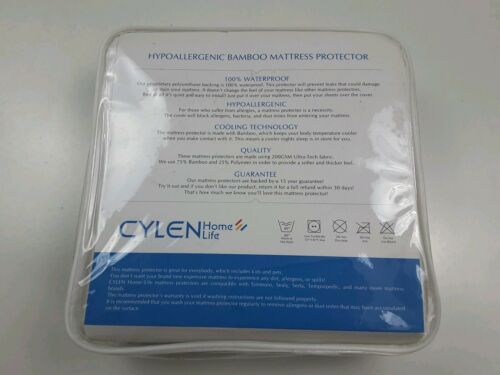 CYLEN Hypoallergenic Bamboo Infused Waterproof Mattress Pad Cover Queen or King