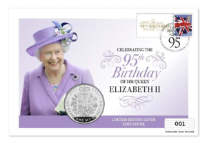 ONLY 495 UK Silver £5 Coin Covers available to mark the Queen's 95th birthday