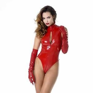 PATRICE-CATANZARO-Manon-Lack-Body-Rot-Red-Vinyl-Jumpsuit-PVC-Overall-CLUBWEAR