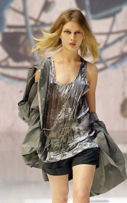 NEW MARITHE FRANCOIS GIRB tunica Blausa seta Silber 44 silk Silber top M L