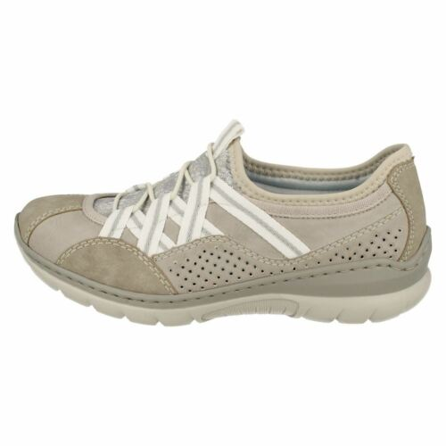 Rieker Slip Grey On Synthetic L3256 Ladies Trainer Combination Casual Shoes vq7wa