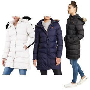 Nouveau-Femme-long-fausse-fourrure-col-matelasse-gilet-manteau-d-039-hiver-a-Capuche-Parka