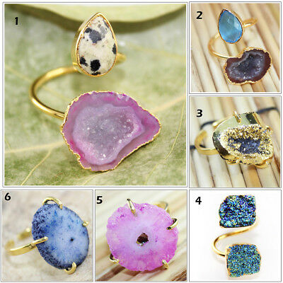 Sizable Stunning Purple Solar Druzy Handmade Jewellry 925 Sterling Silver Plated 10 Grams Ring Size 9 US