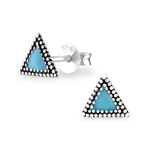 53f483cfb Image is loading Turquoise-Ethnic-Triangle-Sterling-Silver-Stud-Earrings-5mm