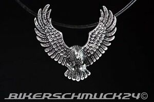 Adler-Anhaenger-3D-Schmuckanhaenger-Edelstahl-Lederband-Bikerschmuck-Geschenk