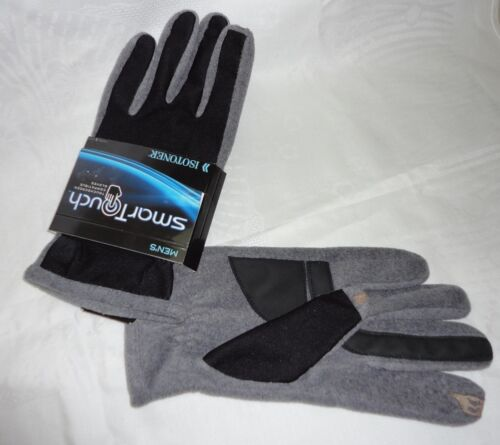 ISOTONER mens A700S1BOH SmarTouch Black Oxford heather gloves L XL NEW