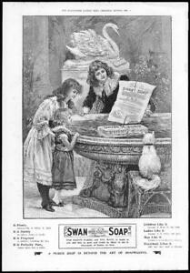 1899-Antique-Print-ADVERTISING-Swan-Soap-Purer-Girls-Cat-Floats-Dainty-96