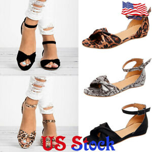 Women-Ladies-Peep-Toe-Flat-Bottom-Buckles-Sandals-Ankle-Strap-Casual-Shoes-US