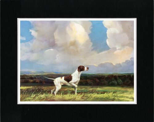 POINTER ENGLISH RURAL SCENE VINTAGE STYLE DOG ART PRINT READY MATTED