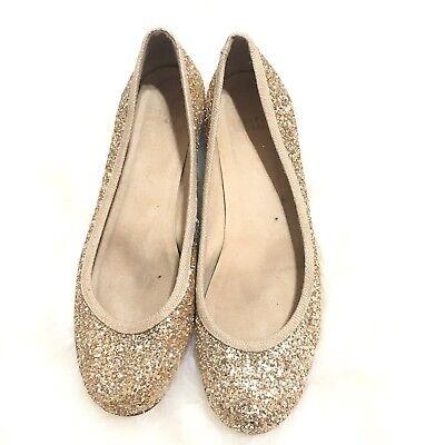 Stuart Weitzman Womens Gold Glitter