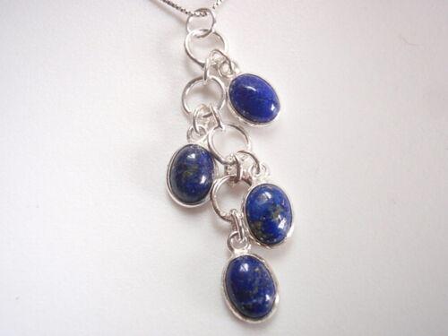Lapis 4-Gem Cluster 925 Pendentif En Argent Sterling Corona Sun Jewelry