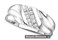 Mens Diamond .12 Carats 14k White Gold Ring Wedding Band Dress Anniversary