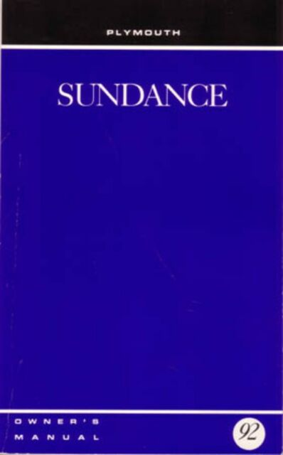 1992 Plymouth Sundance Owners Manual User Guide Reference Operator Book Fuses